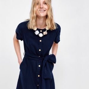 Zara Navy Blue Linen Dress with Bow and Buttons
